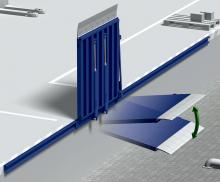 Механический откидной мост на скользящей шине